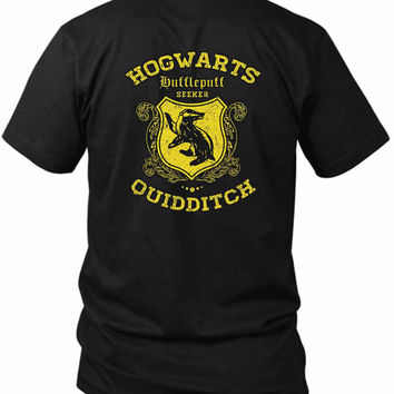 Hufflepuff Quidditch 2 Sided Black Mens T Shirt