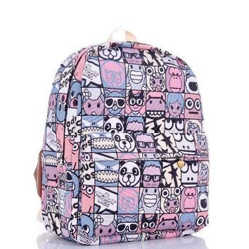 Plaid Print Cartoons Backpack = 4887920516