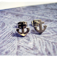 Itty Bitty Anchor Post Earrings in Surgical by EvelynMaeCreations