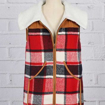 Million Bullpup Plaid Vest with Sherpa Lining for Women MV1001
