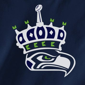 Navy Custom 2 Color Seattle Seahawks Crown good to be king Fan Tee Tshirt T-Shirt