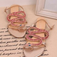 Twisted Full Rhinestone Snake Flat Sandals