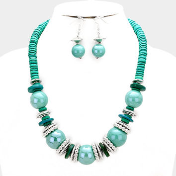 Chunky Turquoise & Silver Bead wood disc cluster bib necklace and earring set