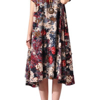 Dark Red Short Sleeve Pleated Floral Dress