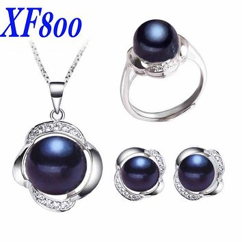 [XF800]Black Pearl Jewelry Sets 925 Sterling Silver Genuine Freshwater Pearl Necklace Pendant Earrings Rings For Women[st20]