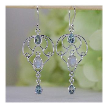 Naturally Glowing Moonstone and Aquamarine Dangle Earrings in Sterling Silver