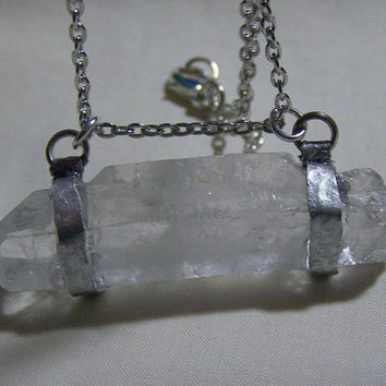 Large Crystal Quartz Point Hammered Silver Wire Wrapped Pendant