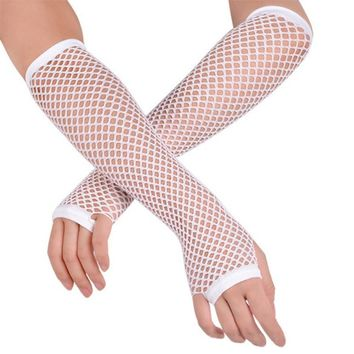 Women Lady Fashion Long Fishnet Dance Mesh Fingerless Gloves Crochet Lace Punk Gothic Disco Costume