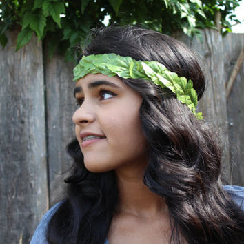 Flower Crown Halo Headband, Coachella, EDC, Festivals- Greek Inspired Green Leaf Halo