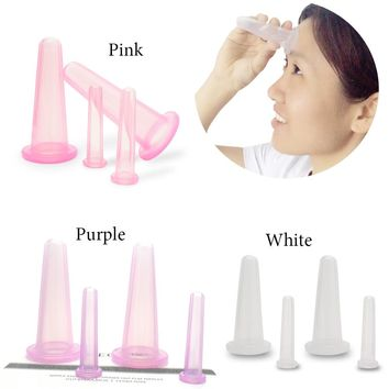 4PCS/Set Facial Massage Cupping Cup Vacuum Cellulite Cupping Cup Body Treatment Therapy Face Health Care Treatment Home Use New