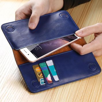 FLOVEME Luxury 5.5'' Universal Real Genuine Leather Wallet Pouch Case For iPhone 7 6 6s Plus 5 SE Samsung Galaxy Note 7 S7 Edge