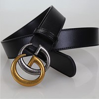 GUCCI Popular New Style Woman Men Metal Double G Smooth Buckle Leather Belt I