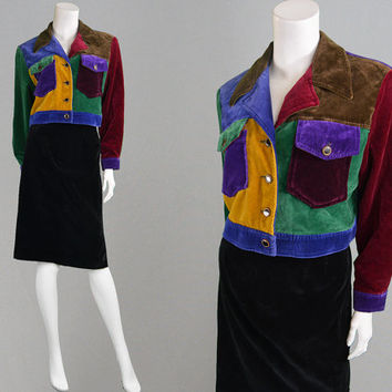 Vintage 90s Colour Block Jacket Velvet Patchwork Colorblock Jacket 90s Grunge Jacket Cropped Jacket Hip Hop Multicolored Jacket Velvet Coat