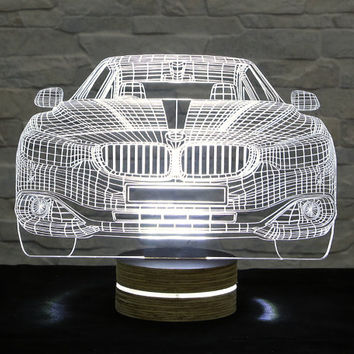 3D LED Lamp, Car Shape, Decorative Lamp, Art Light, Home Decor, Table Lamp, Office Decor, Plexiglass Art, Art Deco Lamp, Acrylic Night Light
