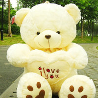 45cm, 17 inch white Teddy Bear, Lovers Big bear Arms Stuffed Animals Toys Plush Doll ,I LOVE YOU bear Valentines Cute Gift