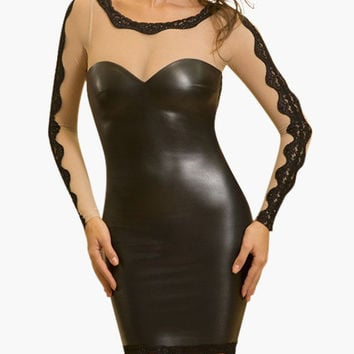 Black Long Sleeve Cut-Out Mesh with Lace Accent Leather Bodycon Dress
