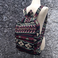 Big Boho Tribal Backpack Hobo Aztec Ethnic Hippies Ethnic Styles Hobo Tapestry Bags Hipster Native Pattern Beach For School Unisex Red 16x18