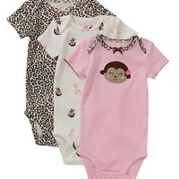 Carter's Preemie Baby Girl Bodysuit Monkey 3-Pack Pink
