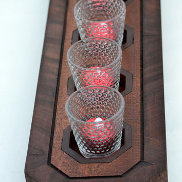 Solid Mahogany Handmade 7 Candle Centerpiece, Candle Holder, Flameless or Real Candle Bar, Table Centerpiece by Kagumise
