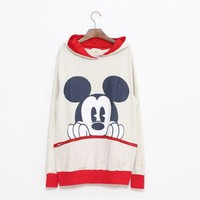 Cotton multi color long sleeve big cartoon print big zip pocket cotton hooded hoodie   style zz90902301 in  Indressme