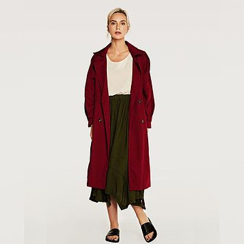 Tie Waist Double Breasted Trench Coat