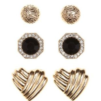 Gold Deco Heart & Faceted Stone Earrings - 3 Pack by Charlotte Russe