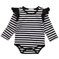 Autumn Winter Newborn Baby Clothing Long Sleeve Striped Lace Splice baby Rompers Girls Cotton Jumpsuit Clothes  costumes