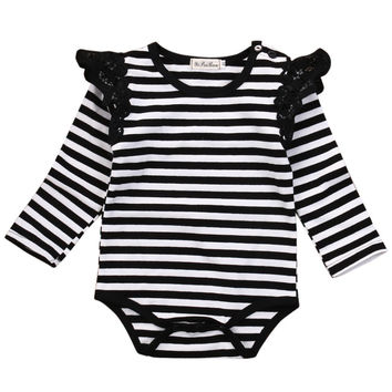 Baby Girls Long Sleeve Striped Lace Splice Romper Cotton Jumpsuit