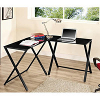 Walmart: Glass and Metal X-Frame Corner Computer Desk, Black