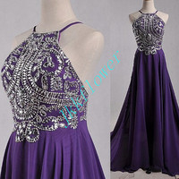 2015 Long Purple Backless Prom Dresses,Stunning Crystal Beaded Prom Dresses,Long Eveing Dresses,Homecoming Dresses.Bridesmaid Dresses