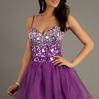 Short Corset Style Prom Dress by Dave and Johnny