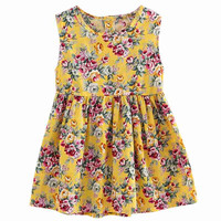 2017 New Summer Kids Children Girls Dresses Sleeveless Floral Princess Party Dress For 4-11Y Girls Dresses Clothes