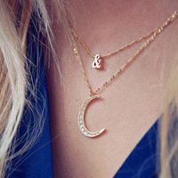 Fashion Moon Diamond Necklace