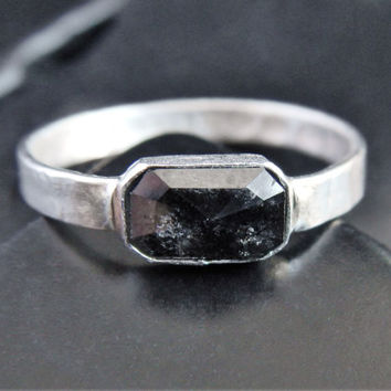 Black Diamond and Sterling Silver Ring - Black Diamond Engagement Ring - Hammered Ring - Gift for Her - Goth Engagement Ring - Gaia's Candy