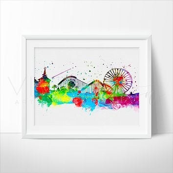 Disneyland Park, Skyline Watercolor Art Print