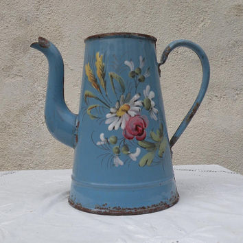 French antique shabby chic blue enamel coffeepot with floral illustations, enamelware, french kitchen, blue enamel coffeepot, coffee pot