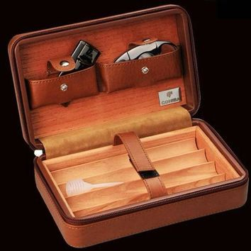 COHIBA Portable Cigar Humidor w/ Cutter Gift Set