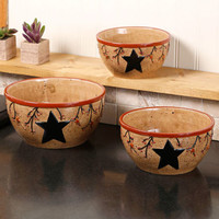 Set of 3 Star & Berry Mixing Bowls Country Rustic Primitive Baking Serving Decor