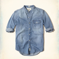 Guys Banded Collar Chambray Shirt | Guys Tops | HollisterCo.com