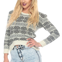 Chunky Knit Printed Crop Sweater