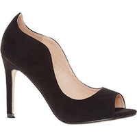 Moow Black Peep Top Court Heels
