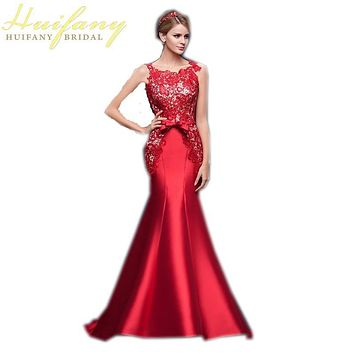 Red Lace Mermaid Evening Dress Long Sleeveless Lace up Back Floor Length Satin Formal Prom Gowns  Robe De Soiree Sirene