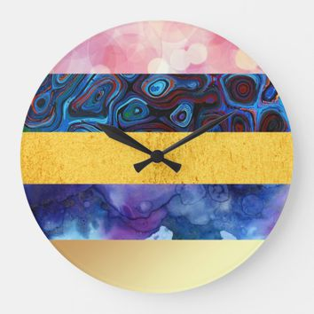 multiple digital textures large clock | Zazzle.co.uk