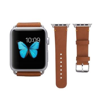 Apple Watch Band,SOLEMEMO® 38mm Genuine Leather Strap Wrist Band Replacement with Metal Clasp for iWatch Apple Watch Sport Edition(Brown)