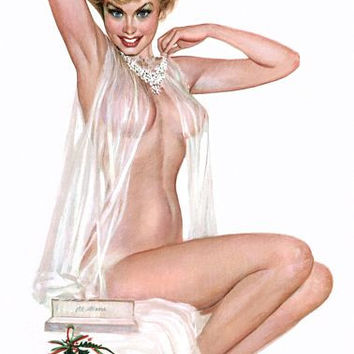 Pin Up Art Blonde With See Through Negligee Poster