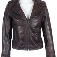 UNICORN Womens Brown Waxed Real Leather Jacket #Z7