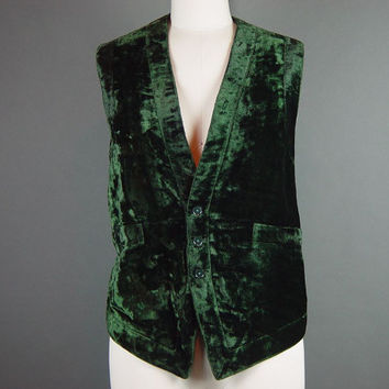 70s Green Vest Vintage 1970s Dark India Imports Hippie Boho Chic Hipster Unisex Festival