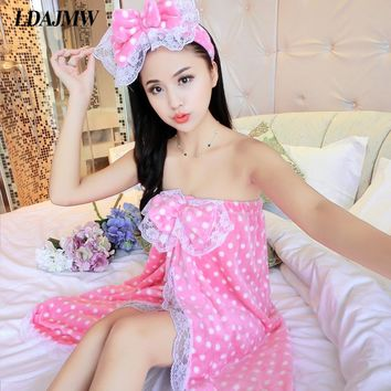 LDAJMW 3PCS/Set Spring Autumn Sweet Flannel Robe Wrapped Chest Bath Towel With Hair Band Bathrobe Shoes HomeTextile Bath Skirt