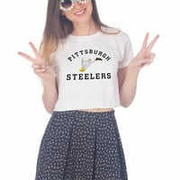pittsburgh steelers logo For Womens Crop Shirt ***