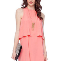 Tier Down Dress in Coral :: tobi